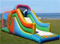 Large Rainbow Inflatable Bounce House with Slide