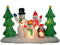 Holiday Airblown Inflatable Decoration Snowman Family